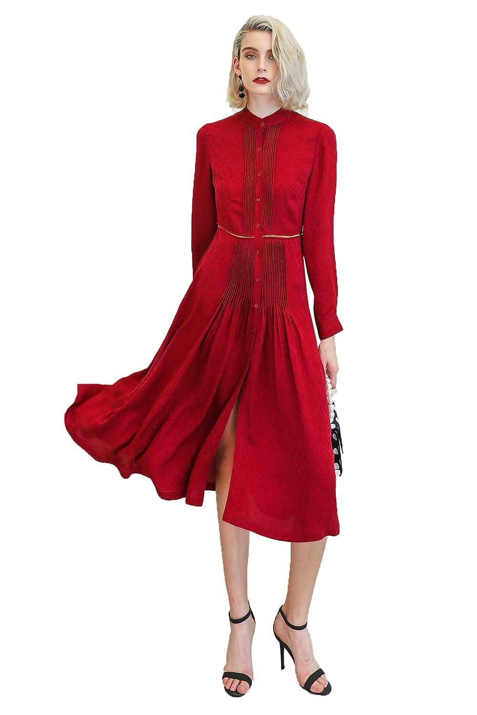 Voa Wine Red Silk Shirt Dress High Waist Slim Women Midi Dresses