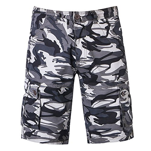 haoricu Mens Multi-Pocket Camo Cargo Shorts Casual Loose Fit Belted Ripstop Basic Cargo Shorts
