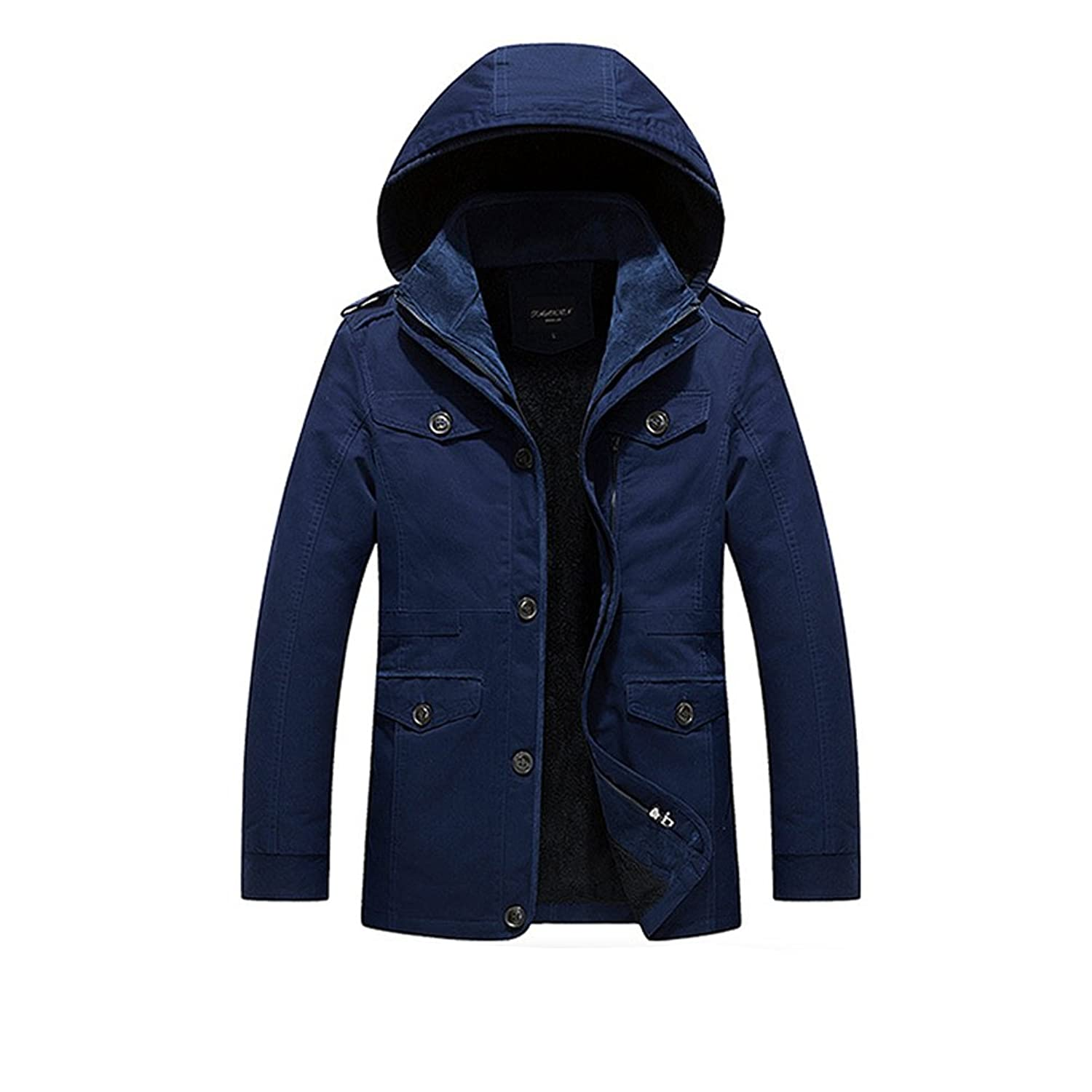 Zhhlinyuan Men's Winter Detachable Hooded Faux Fur Lined Warm Coats Outerwear