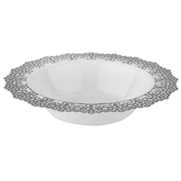 Elegant Disposable Plastic Dinnerware - White Soup/Salad Bowl with Silver Lace Trim - Hard  sc 1 st  Amazon.com & Amazon.com: Elegant Disposable Plastic Dinnerware - White Soup/Salad ...
