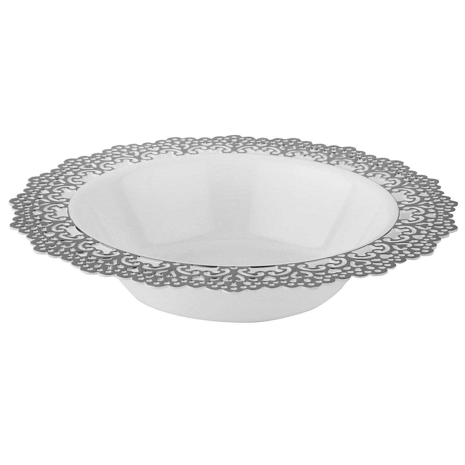 Elegant Disposable Plastic Dinnerware - White Soup/Salad Bowl with Silver Lace Trim - Hard  sc 1 st  Amazon.com : disposable plates that look real - pezcame.com