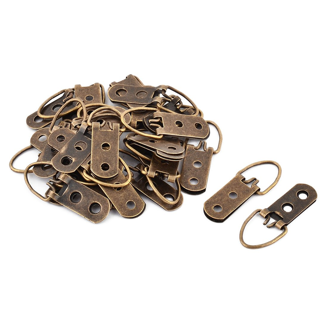 uxcell 49mm Length Triangle D-Ring Picture Frame Hanging Hangers Hooks Bronze Tone 30 PCS