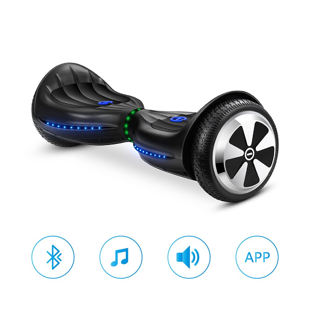 Eyourlife Hoverboard Two-wheel Self-balancing Scooter With Bluetooth Speaker - UL2272 Certified Hover Board With 6.5'' Aluminum Alloy Wheels,300W Dual Motor,Mobile APP Control