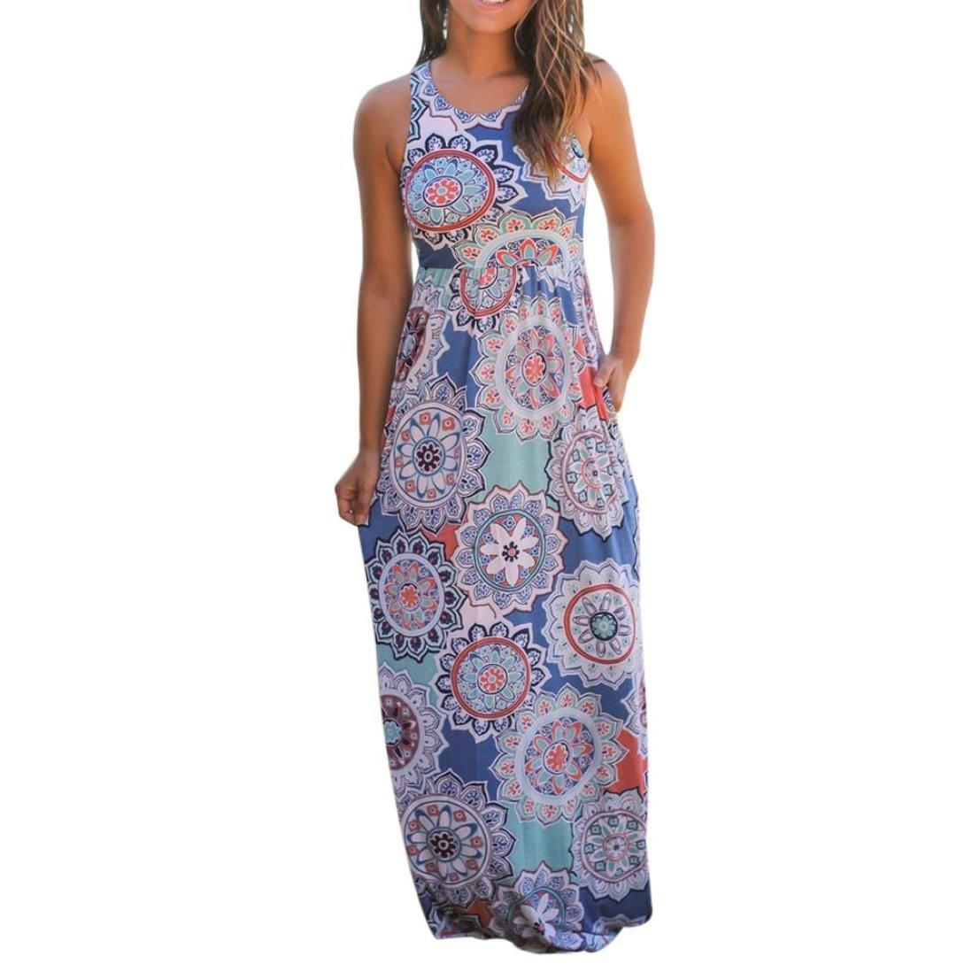 Bekleidung Longra❤️❤️ Kleider Damen, Frauen Ärmelloses Sommerkleid Strandkleider Blumenmuster Lang Maxi Kleid mit Taschen