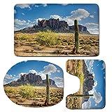 3 Piece Bath Mat Rug Set,Saguaro-Cactus-Decor,Bathroom Non-Slip Floor Mat,Famous-Canyon-Cliff-with-Dramatic-Cloudy-Sky-Southwest-Terrain-Place-Nature,Pedestal Rug + Lid Toilet Cover + Bath Mat,Brown-G