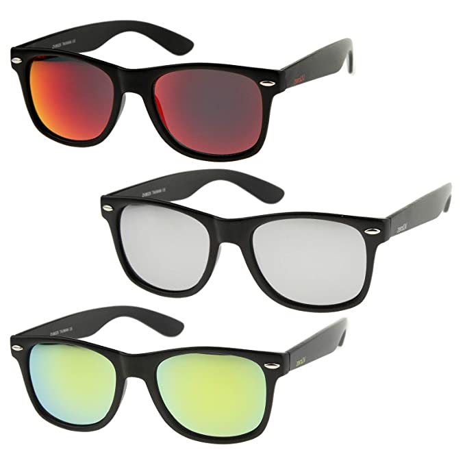 ecdf37b307 zeroUV - Matte Finish Reflective Color Mirror Lens Large Square Horn Rimmed  Sunglasses 55mm (3 Pack
