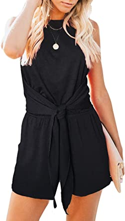 Womens Summer Ruffle Shorts Elastic Waist Solid Color Jumpsuit Rompers with Pockets