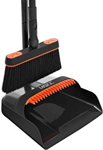 MATCC Broom Dustpan Set Combo with Long Handle Rotating Broom Standing Upright Dust Pan and Broom for Hardwood Floors Kitchen Lobby Office Home Model MBD001
