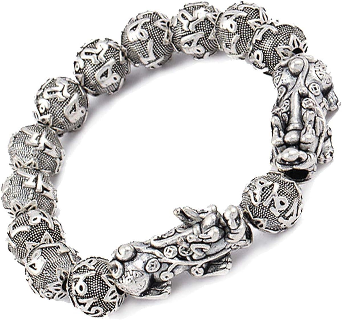 Feng Shui Antique Silver Lucky National Wind pixiu Bracelet for Men pixiu bracelets