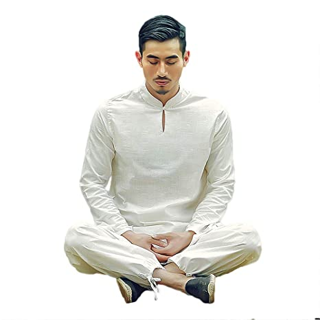 Amazon.com: KSUA Tai Chi - Traje de hombre de lino chino ...