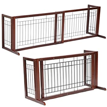 Amazon.com: Wood Dog Gate Playpen Adjustable Indoor Solid ...