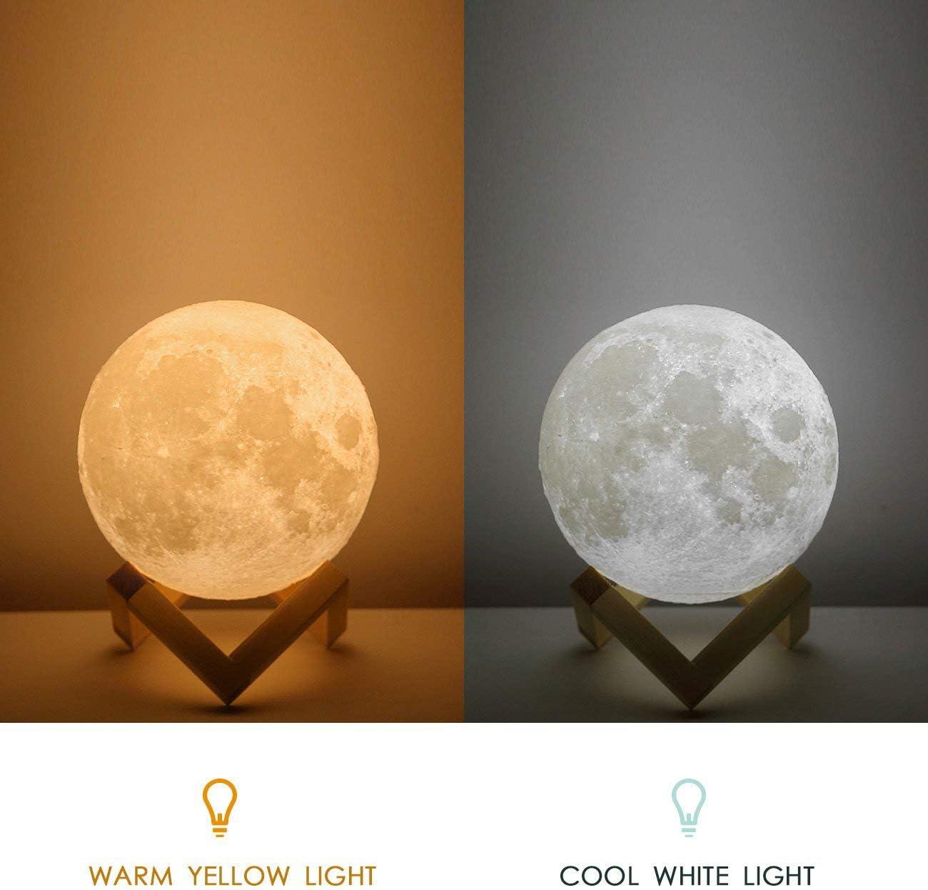 15cm Lampara Luna Nocturna Control Remoto /& T/áctil Cargador USB L/ámpara de Ambiente para Regalo de Fiesta L/ámpara de Luna Uten-AGM 16 Colores LED Luz Luna