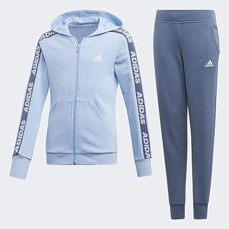 adidas Yg Hood Cot TS Chándal, Niñas, Azul (Glow Blue/White/Tech ...