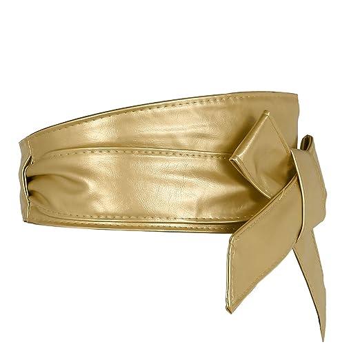 Faleto Ceinture À Nouer Obi En Faux Cuir PU Large Bande Papillon Souple  Bandage Haute Femme Fille Accessoire Robe Chemise Soirée(4pcs set)   Amazon.fr  ... 2ad726986bf