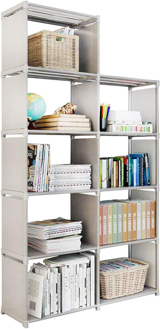 11 Storage Cubes, 11 Tire Shelving Bookcase Cabinet, DIY Closet Organizers  for Living Room Bedroom Office (Gray)