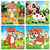 Wooden Jigsaw Puzzles Set for Kids Age 3-5 Year Old 20 Piece Animals Colorful Wooden Puzzles for Toddler Children Learning Educational Puzzles Toys for Boys and Girls (4 Puzzles)