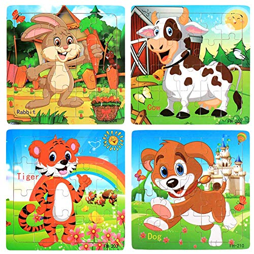 Wooden Jigsaw Puzzles Set for Kids Age 3-5 Year Old 20 Piece Animals Colorful Wooden Puzzles for Toddler Children Learning Educational Puzzles Toys for Boys and Girls (4 Puzzles) ()