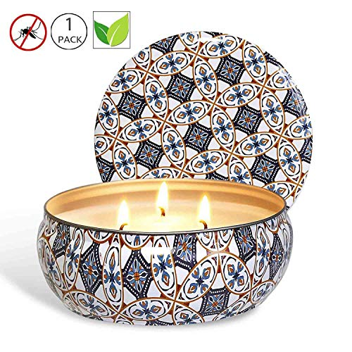 (Citronella Candles Outdoor, 12 oz - Natural Scented Soy Wax Candles Travel Tin, 3 Wick Candles with 75 Hours Burning Time)