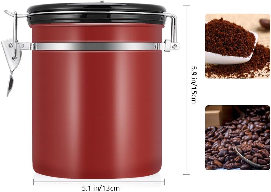 Vorratsdosen um Kaffeebohnen Getreide zu lagern 16 Unzen Kaffeebeh/älter aus Edelstahl mit Zeitkompass und Versiegelter Deckel trocknen Tee N/üsse Gro/ße Kapazit/ät Kaffeedose Schwarz