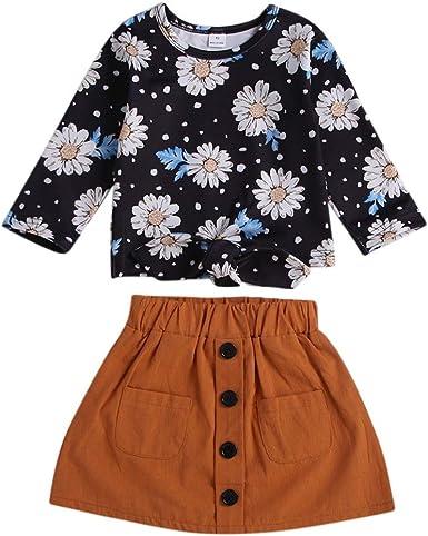 Baywell Conjunto de Falda Blusa de Niña con Estampado Floral Manga Larga + Faldas Cortas con Botones Casuales Primavera Verano Otoño: Amazon.es: Ropa y accesorios