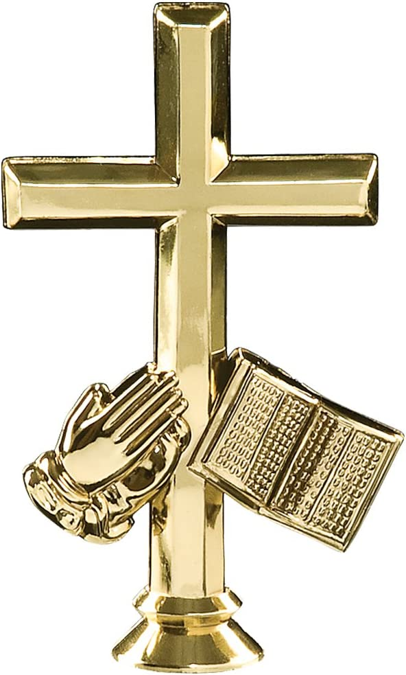 Cross Trophies with Custom Engraving 7.25 Personalized Gold Religious Cross and Open Bible Trophy On Deluxe Round Base Prime
