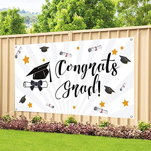 MIDOLO Graduation Banner Large Size 78''x45'' for Graduation Party Banner Supplies 2019, Photo Prop/Booth Backdrop, Graduation Wall Decorations (White)