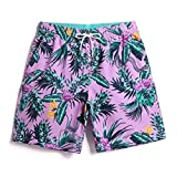 UB-GAILANG Mens Sports Runnning Swim Board Printing Shorts with Pocket Swimsuits Purple L