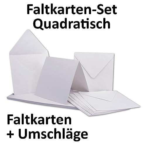 Quadratische Karten Inklusive Briefumschläge | 50er Set | Blanko  Einladungskarten In Hoch Weiß |