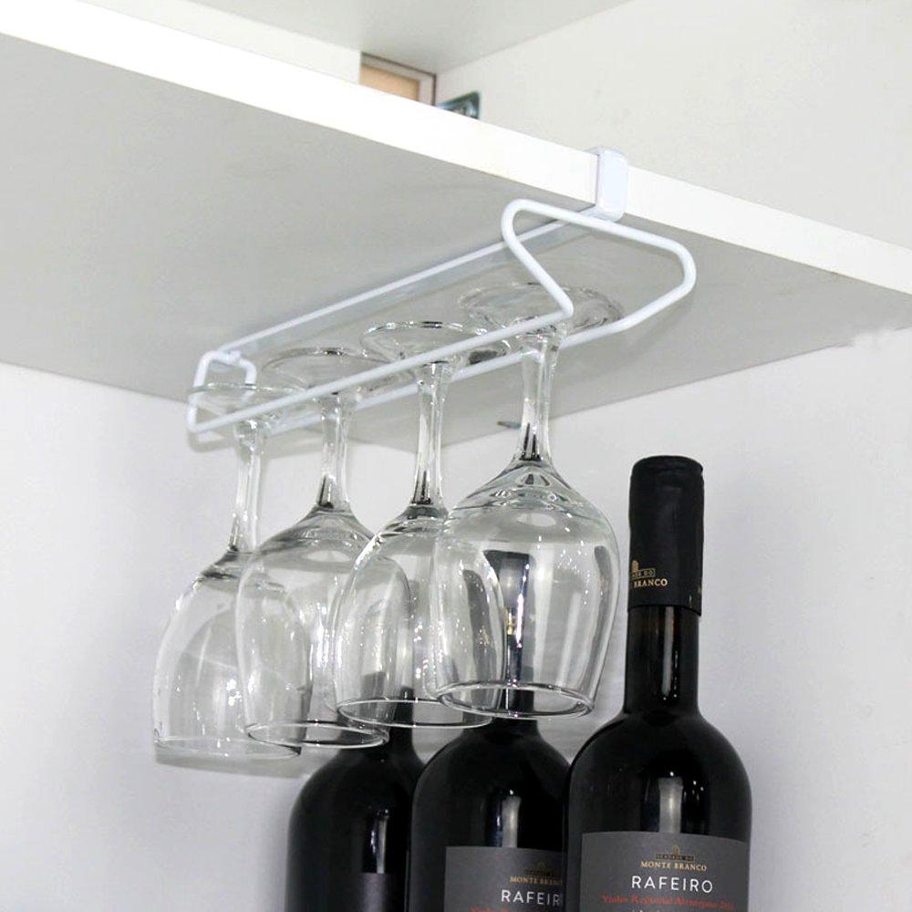 ShineMe Stemware Wine Cup Rack Holder, Glass Rack Hanger Hook Under Cabinet Shelf Storage Organizer for Bar, Kitchen Drying Dinnerware