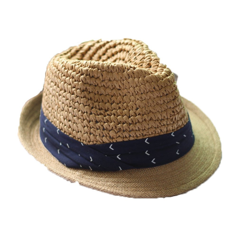 doublebulls hats Women Girls Fashion Summer Outdoor Blue Stripe Crimping Jazz Hat Natural Straw Sun Hat Beige DH466A