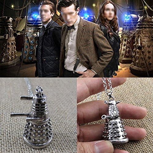 YSTD® Antique Silver Pendant Necklace Sweater Chain Gift For Doctor Who Dalek Robot