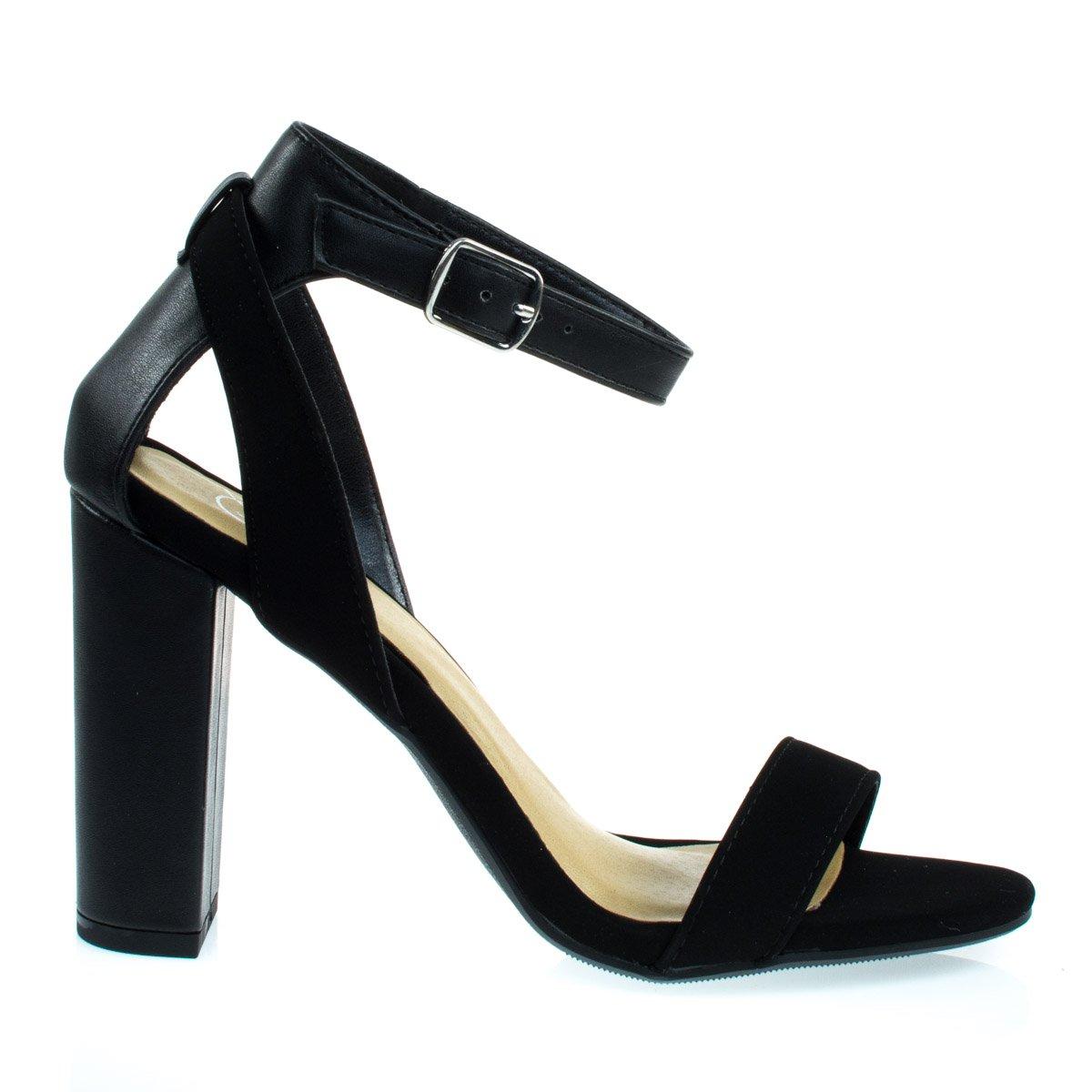 Delicious Econ Black Nubuck Chunky Block Heel Dress Sandal w Faux Leather/Nubuck Combo Straps -7