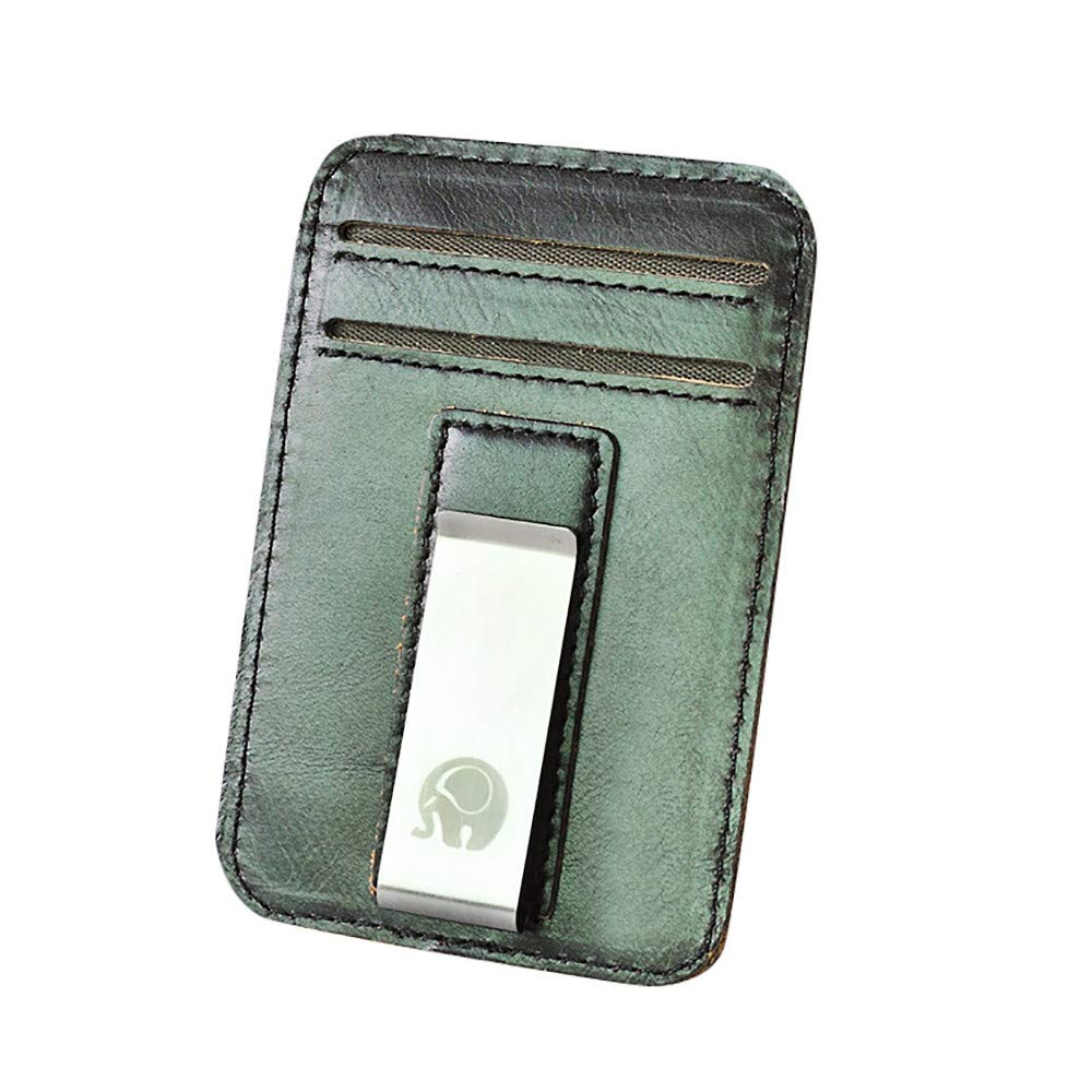 POQOQ Wallets Pocket Gifts Slim Minimalist Front Pocket Hook Blocking Leather