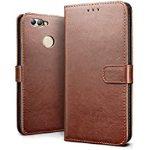 Huawei nova 2 Case, SLEO Retro Vintage PU Leather Wallet Flip Case Cover for Huawei nova 2 (Verizon, AT&T Sprint, T-mobile, Unlocked) - Coffee