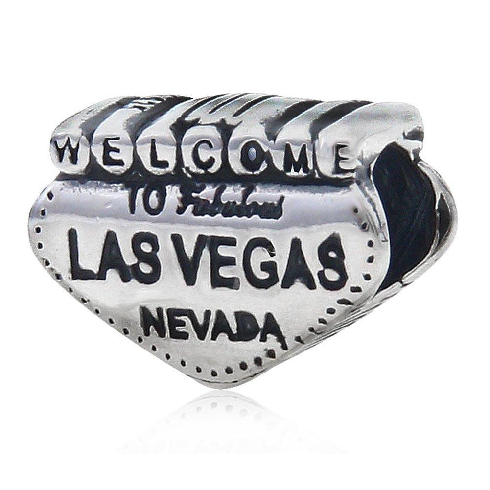 Welcome to Las Vegas Charm 925 Sterling Silver Charm Nevada Charm Travel Charm for Pandoar Bracelet