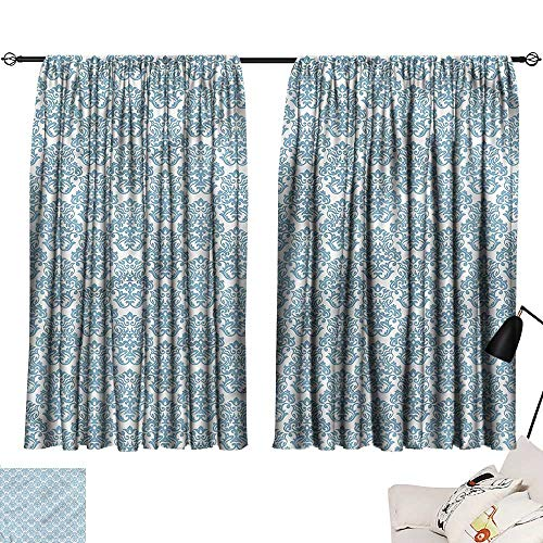 (Denruny Teal Curtains Victorian,Venetian Inspired Leaves 84