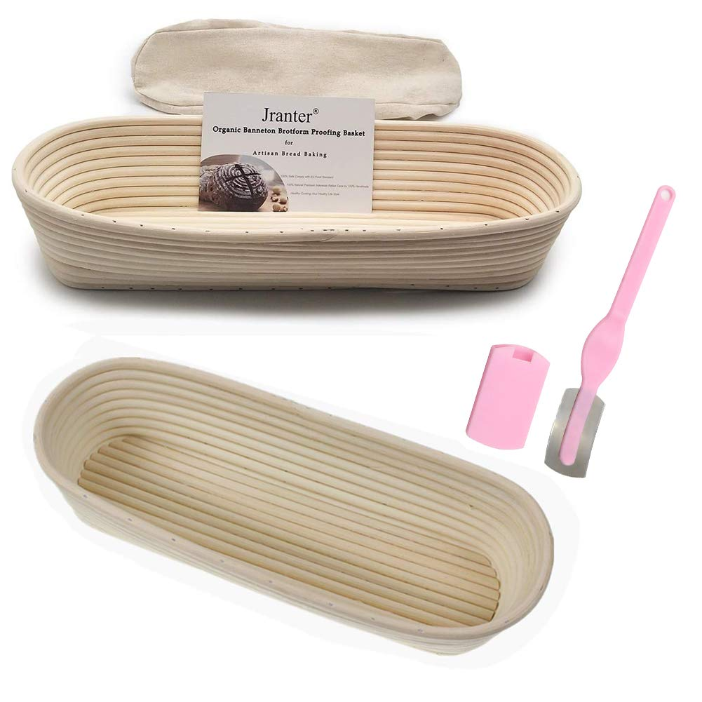 Oval 14 inches Banneton Bread Proofing Basket and Linen Liner Set 2 Pack and One Blade by Jranter