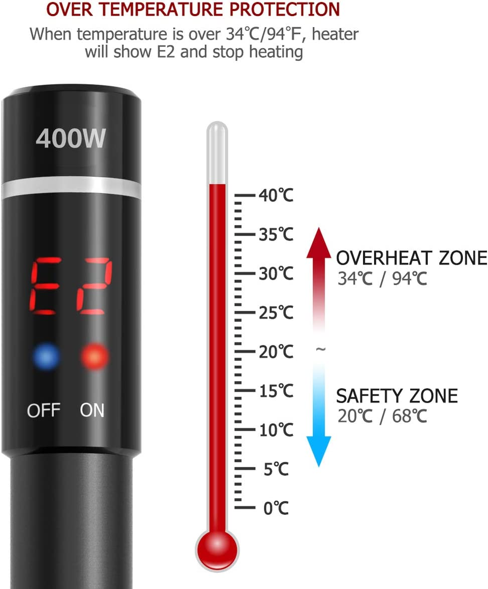 Upgraded 400W Aquarium Heater - Submersible Titanium Fish Tank Heaters with Intelligent LED Temperature Display POPETPOP