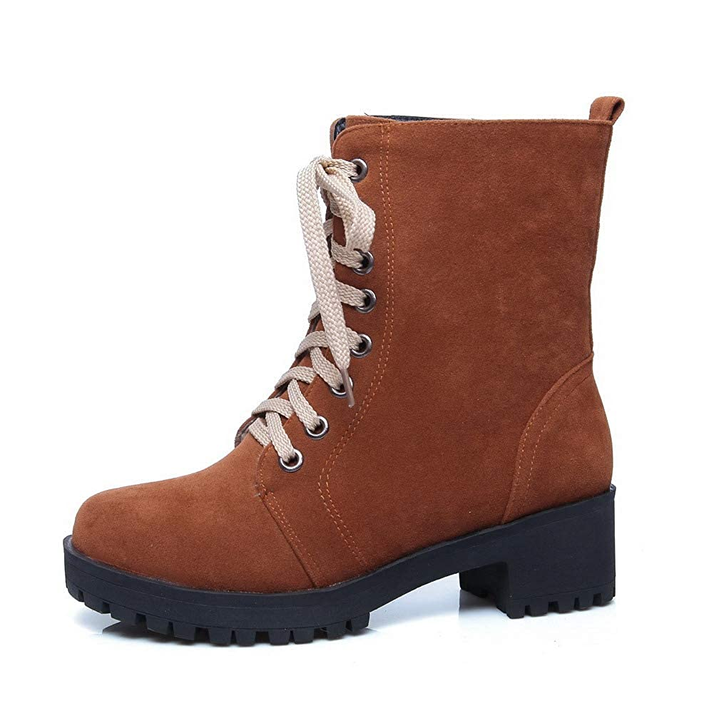 EGHXH026791 WeiPoot Womens Mid-Calf Lace-Up Frosted Kitten-Heels Round-Toe Boots