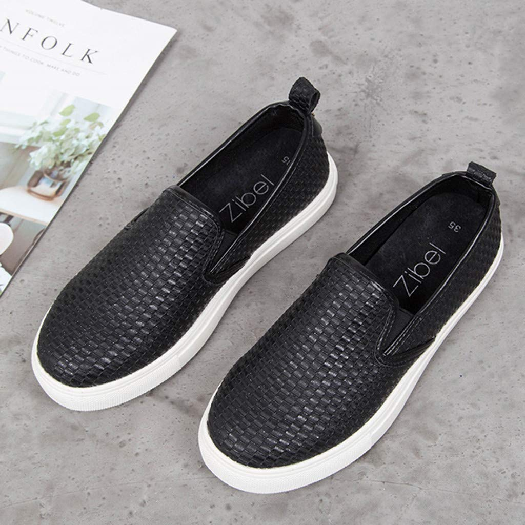 ✔ Hypothesis_X ☎ Women's Preforated Slip On Sneakers Roman Plus-Size Flat Casual Pumps Shoes Black by ✔ Hypothesis_X ☎ Shoes (Image #2)