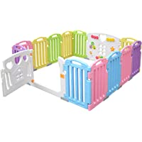 LIVINGbasics Baby Playpen 14 Panel Kids Activity Centre BPA-Free Safety Play Yard for Home Indoor Outdoor