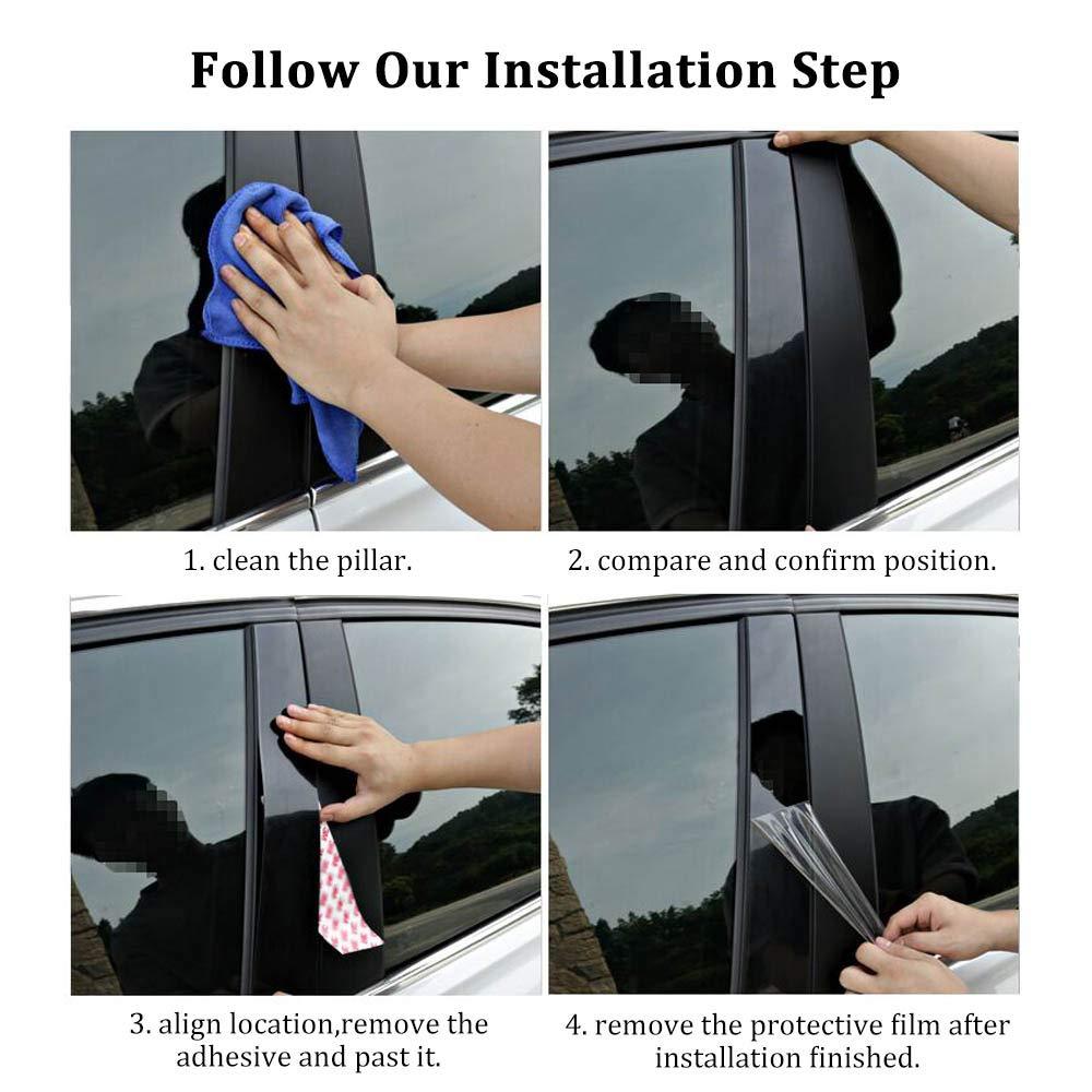 10Pcs//Set Piano Black Window Pillar Sticker for Mazda CX5 Accessories 2019 2018 2017,BUENNUS Car Window Pillar Posts Trims for Mazda CX-5 CX 5 Decorative Strip Protector Pillar Post Trim Cover