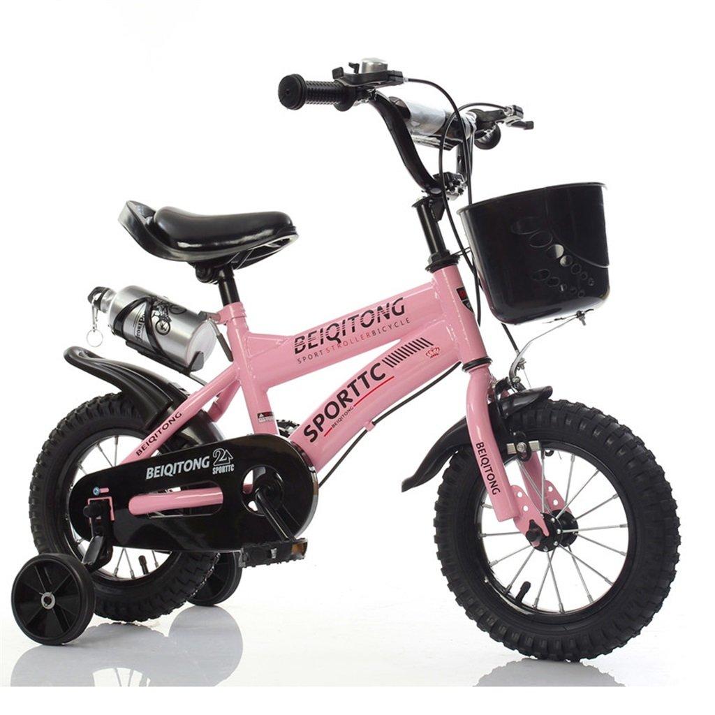 子供の自転車12|14|16|18|20インチ屋外の子供の赤ちゃんキッドマウンテンバイク黒のトレーニングホイールで2歳から11歳の男の子の女の子の贈り物|プラスチックバスケット|ウォーターボトルセーフダンピングピンク B078JZ9KY9 14 inches