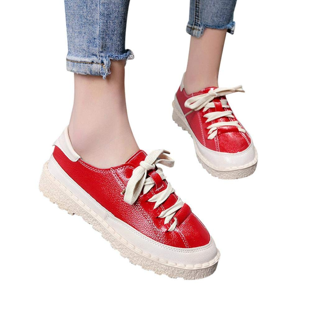 Boots For Womens -Clearance Sale Women's Ankle Flat Lace-Up Casual Shoes Short Boots Sports Shoes (Red, 6.5) by WuyiMC Women shoes