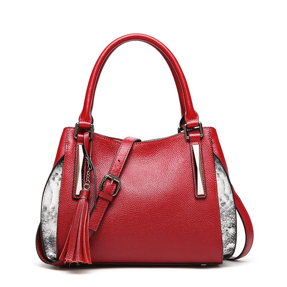 秋と冬新しいレディースバッグトップレイヤーレザーレディースハンドバッグファッションレザータッセルショルダーバッグ レディースハンドバッグ (色 : 赤) B07MRKCCGD 赤