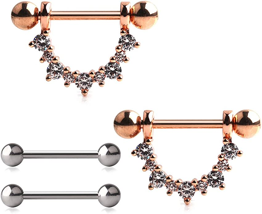 Removable Barbell Set of 2 14g or 16g SNAKE Nipple Shields Steel Yellow Gold Rose Gold Choice of Ball Ends: Black
