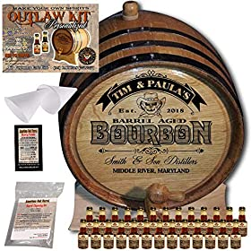 Personalized Whiskey Making Kit (102) – Create Your Own Tennessee Bourbon Whiskey – The Outlaw Kit from Skeeter's Reserve Outlaw Gear – MADE BY American Oak Barrel