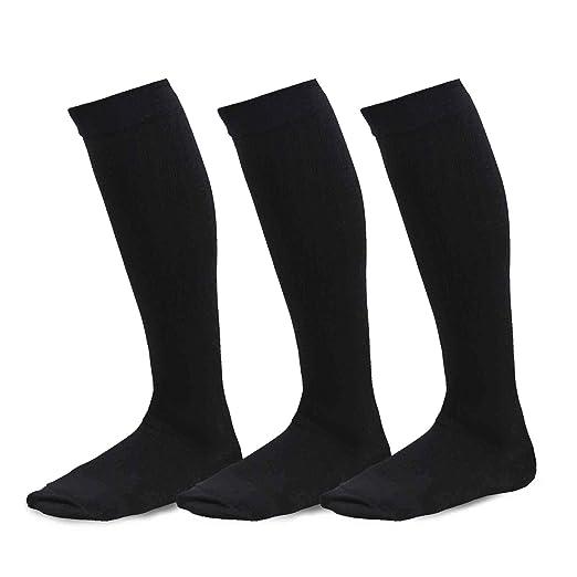 b352c7ba9 TeeHee Viscose from Bamboo Compression Knee High Socks with Rib 3-Pack  (Medium (