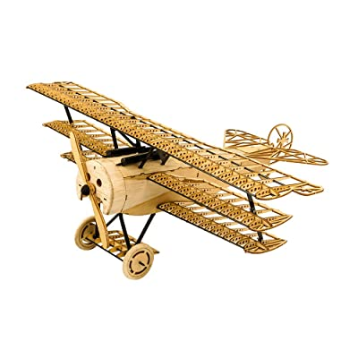 3D Wooden Puzzles Airplane DIY Fokker DR1 Triplane Model Kit, Laser Cut Balsa Wood Plane Kits to Build for Adults, WW1 Wooden Models Aircraft Jigsaw Puzzles for Home Decoration Birthday Gift: Toys & Games