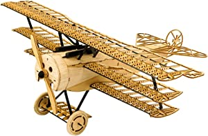 3D Assembly Puzzle DIY Fokker DR1 Model Plane Wooden Craft Kit, Laser-Cut Balsa Airplane Kits to Build for Adults, Creative Brain Teaser Jigsaw Puzzles Model Aircraft Construction Set for Home Decor